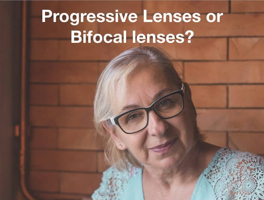The picture shows a lady with glasses and the question progressive lenses or bifocal lenses?