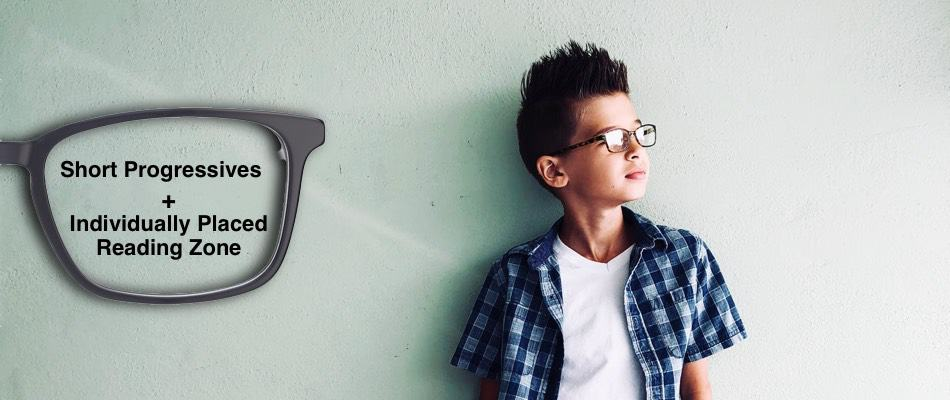 The image shows a boy with glasses. Near to him on the left there are glasses with the instructions on how to design a progressive lens for myopia care