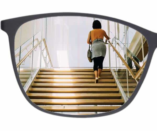 The picture Shows one half of a frame for progressive glasses and stairs
