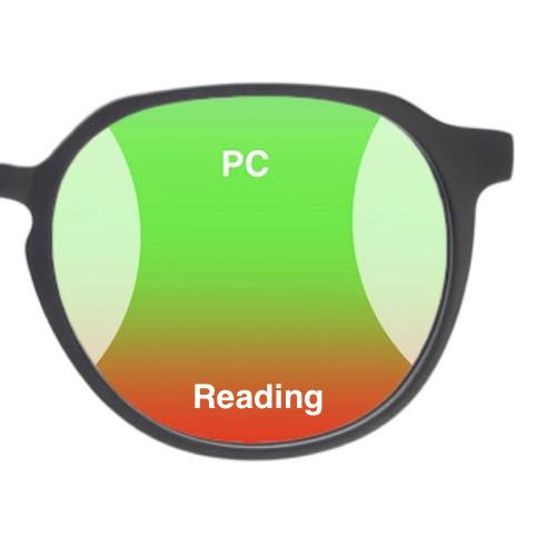 The picture shows typical progressive glasses for computer use