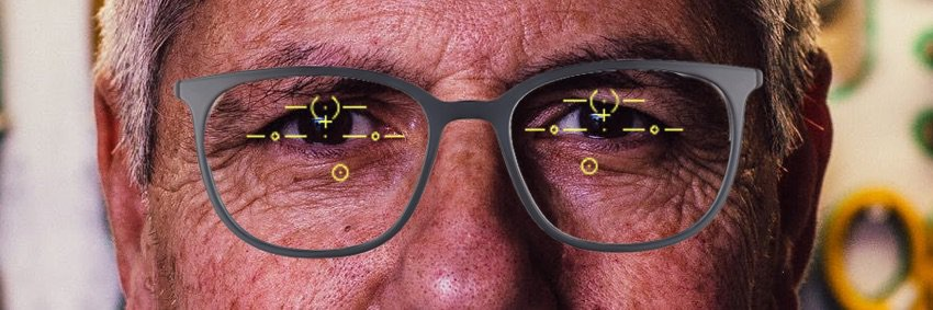 the picture shows well centered progressive glasses
