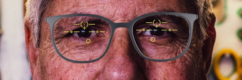 The picture shows progressive glasses that are centered too high. This will be a problem for distance vision