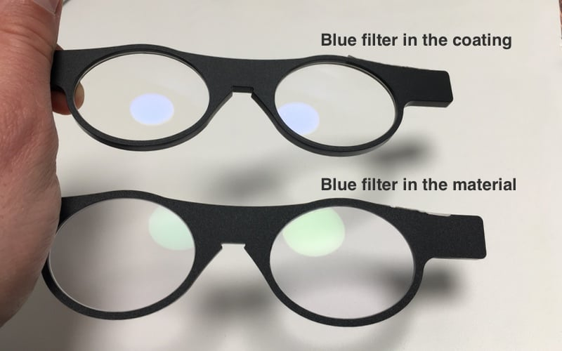 Two blue filters are shown that could be ordered with progressive lenses. The upper blue filter is build in the coating the lower one is built into the material.