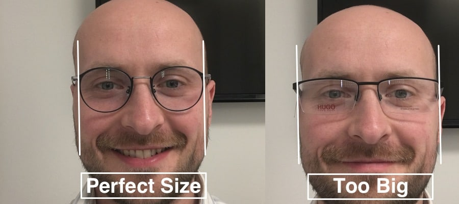 The picture shows different sizes t find the best frame for progressive lenses