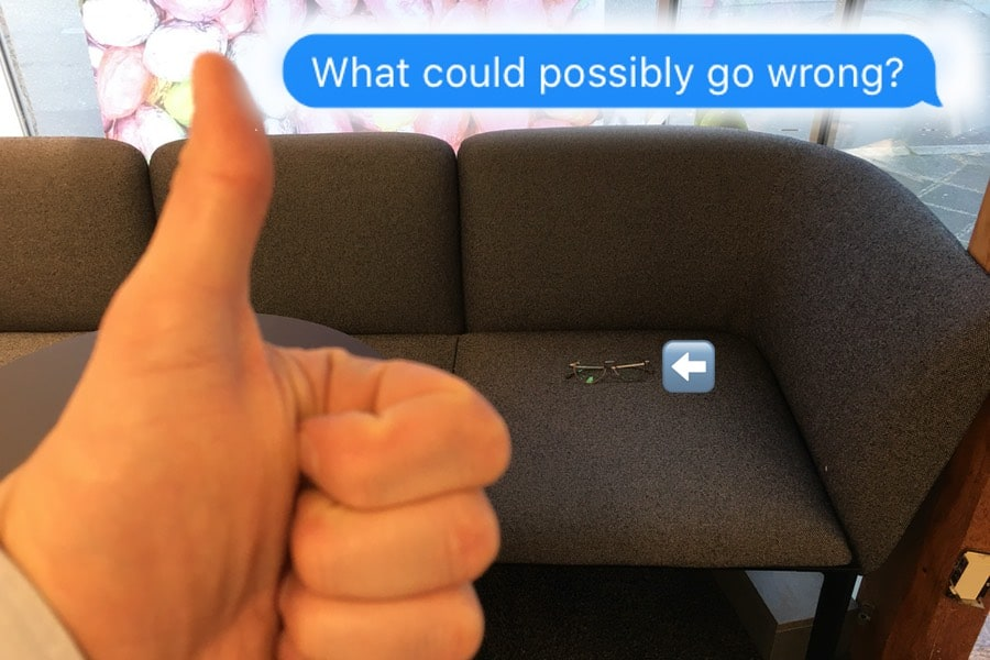 the picture shows Michael Penczek´s progressive glasses placed on a couch