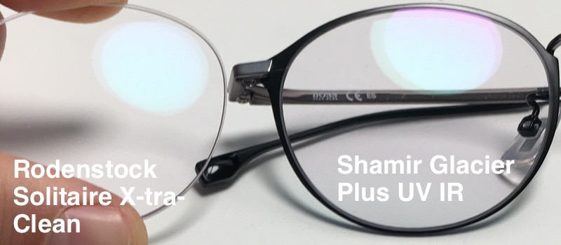 The picture shows the coating from Rodenstock Solitaire X-tra-Clean and the Shamir Glacier Plus UV IR on their progressive lenses