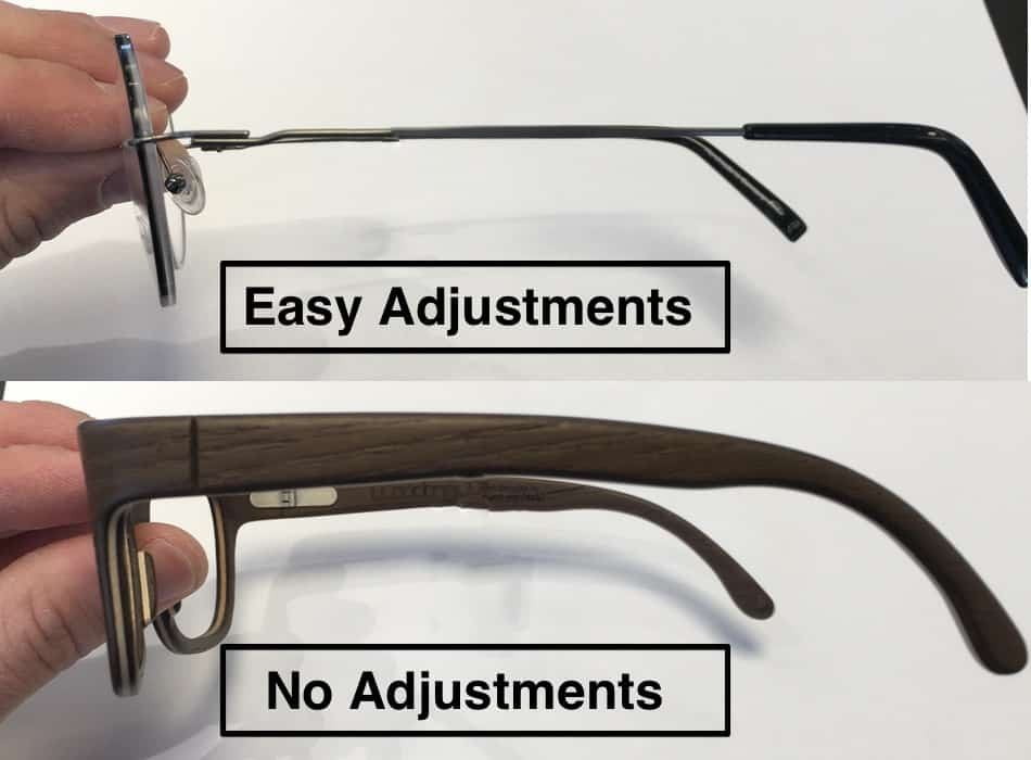 The picture shows two different frames which can and can not be best adjusted for progressive lenses