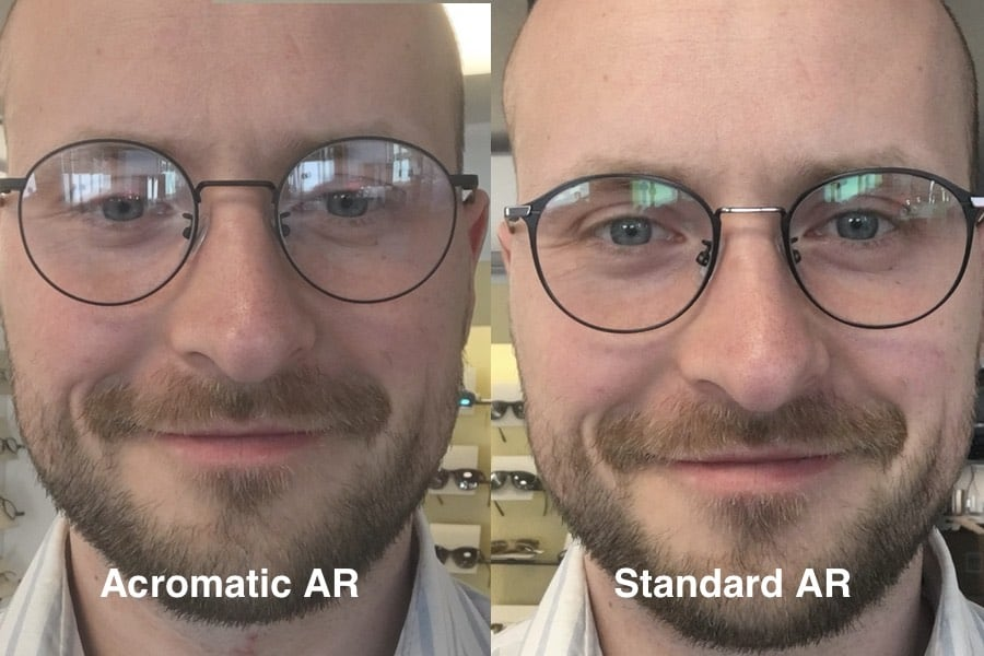 Ordering the wrong anti reflection is a mistake. On the left side you can see the acromatic coating and on the right side the standard AR on my progressive lenses