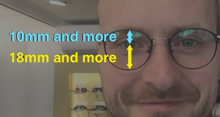 The picture shows the optimal heights to fit to find the best frame for progressive lenses