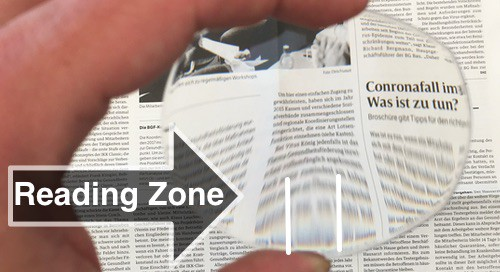 The picture shows a progressive lens and how big the reading zone is.