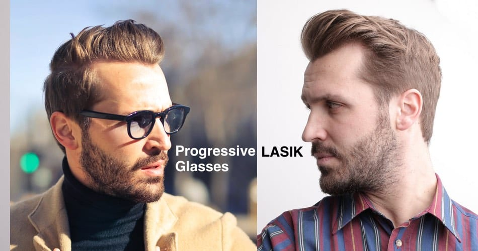 The picture shows a man with and without glasses an the text progressive glasses and LASIK