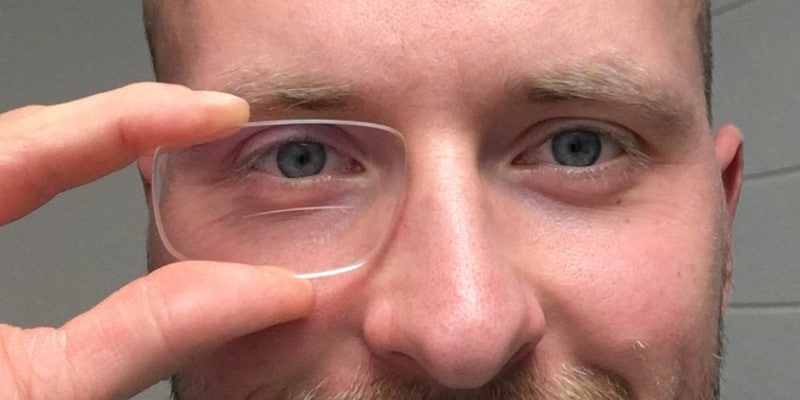 THe picture shows Michael Penczek with a bifocal lens