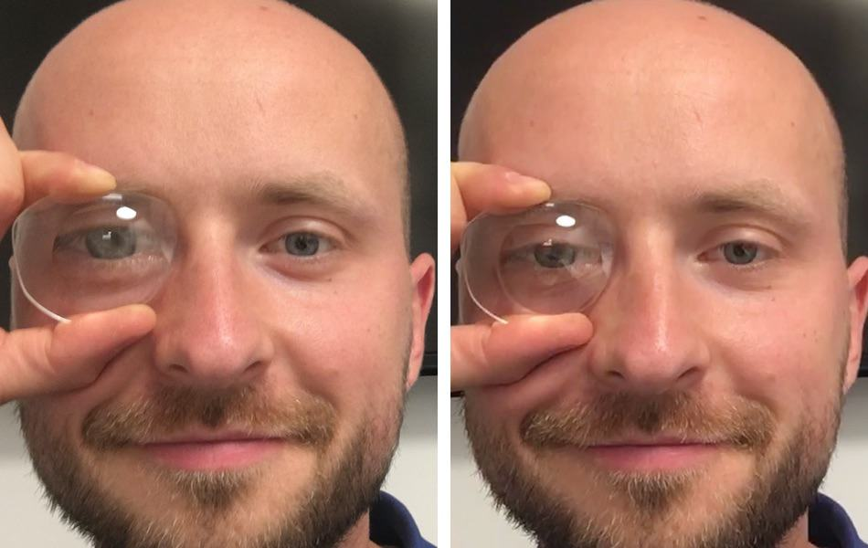 the picture shows the differences in magnifying effects with the same lenticular lens