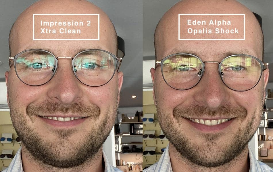The picture shows a comparison of the eden alpha lenses and impression 2
