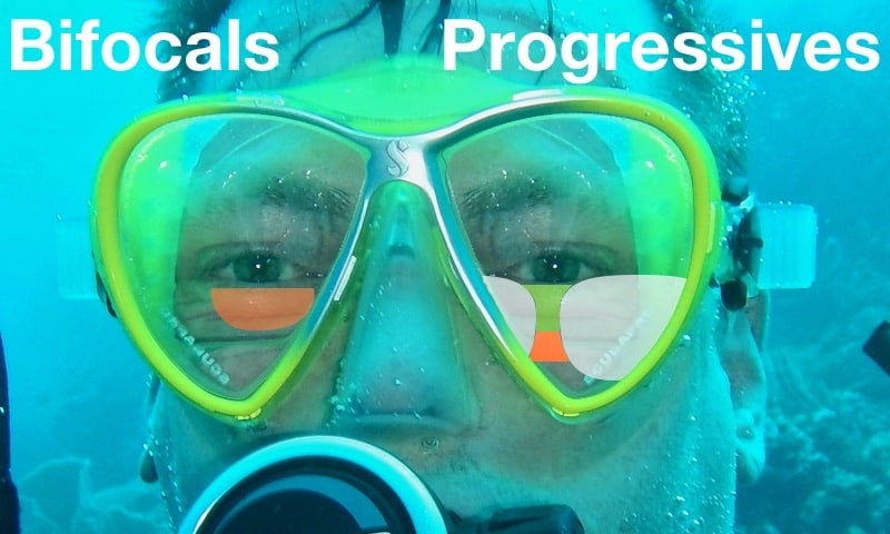 The picture Shows the Differennce in the Field of View in progressive lenses for dive Masks and bifocals for dive masks with different Colors.