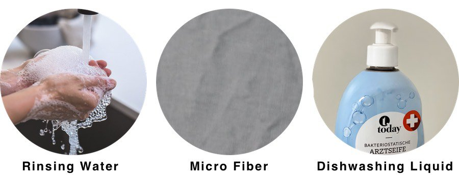 This picture shows the three things needed to clean your glasses optimally
