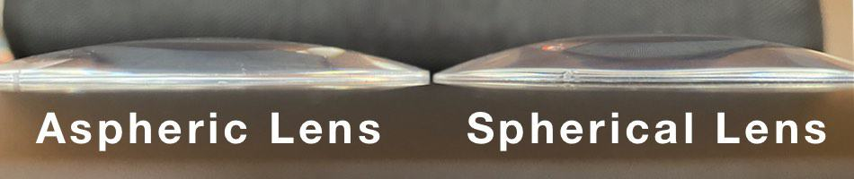 th picture shows the difference in thickness with a aspheric lens and an spherical lens design