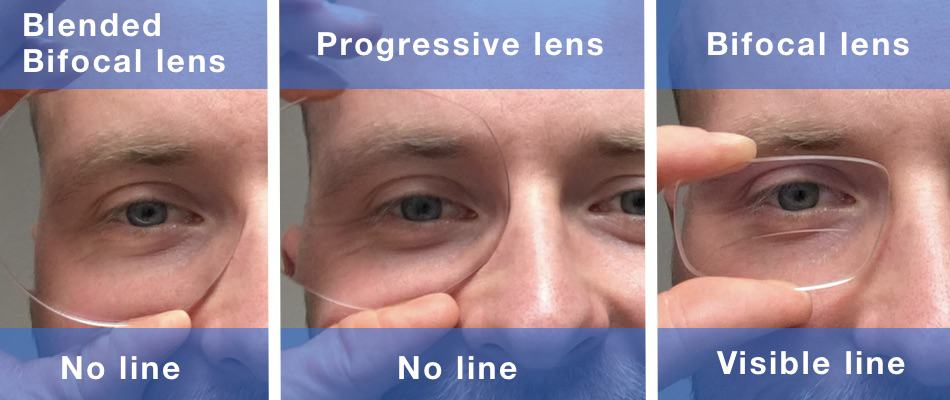 the picture shows two no line bifocals and a classic bifocal lens